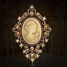 Retro Women Princess Fashion Cameo Jewellery Party Christmas Gold Brooch Pin New