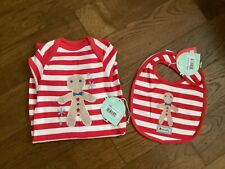 Piccalilly - Gingerbread Applique Playsuit and Bib - Size 6-12 months