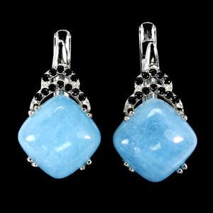 Unheated Cushion Blue Aquamarine 10mm Black Spinel 925 Sterling Silver Earrings