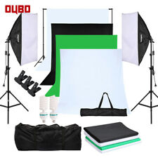 Fotostudio Set Hintergrundsystem 4x Hintergrundstoff Studioleuchte Softbox DE