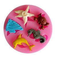 Baking Silicone Mould Ocean Animals Fondant Cake Sugarcraft Decorating DIY Mold