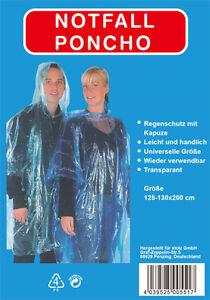 Regenponcho mit Kapuze Regenjacke Regenmantel Unisex Regenschutz universell NEU