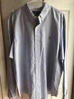 Men's Polo Ralph Lauren Blue Dress Shirt Button Up Classic Fit Size XXL 2XL