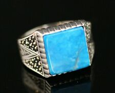 Turquoise Men's Ring Size 10 925 Sterling Silver Handmade Authentic Turkish