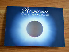 """Romania 2,000 Lei 1999  """"Total eclipse"""" prefix 001A  With Folder POLYMER NOTE"""