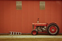 Vintage Red Tractor and Ladder Beside Rural Barn Photo Art Print Poster 18x12