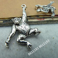 10pc Tibetan Silver Monkey Orangutan Animal Pendant Charms Beads Jeweller  GP234