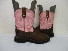Justin Gypsy Brown Pink Leather Cowboy Boots Womens Size 6.5 B Style L9901
