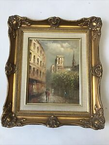 Gilt Framed Oil Painting Paris Street Signed I.Costello Art Style Medium  B11
