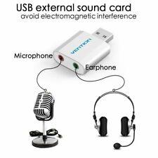 External USB 7.1 3D Audio Sound Card Adapter for PC Laptop Mic Headphone Win Mac