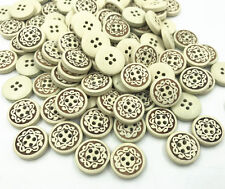 50X Wooden printing Round buttons 4-Holes Sewing Scrapbooking Handicrafts 13mm