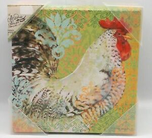 """Rooster Picture SUSAN WINGET Canvas 8"""" x 8"""" chicken country farmhouse NEW"""