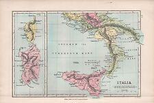1875 ANTIQUE MAP - ROMAN ITALY,  ITALIA MERIDIONALIS, SICILY SARDINIA CORSICA
