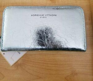 Adrienne vittadini Womens Wallet Snap Front Zip Around Mint Crackled Metallic