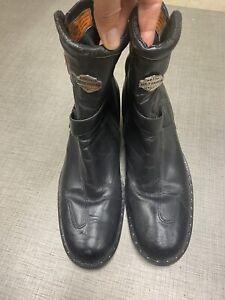 Harley Davidson Black Leather Riding HD Bella Zip Boots Size 10