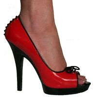 Erosella Peep Low Sexy Erosella Peep Toe Shoes Red Patent Black Heels / Lace