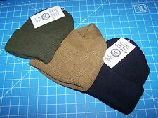3 HAT LOT NEW USA 100% Wool Army Military Watch Black Green Coyote Cap Hat w P38
