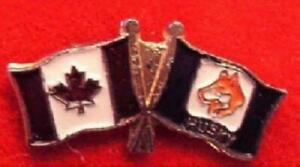 HUSKY OIL & GAS CANADA DOGS HEAD FLAGS LAPEL PIN Exc GAS & OIL