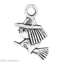 "50PCs Halloween Charm Pendants Witch & Broom Silver Tone 13x10mm(4/8""x3/8"")"