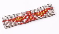 Stile etnico Flessibile Argento Perline BRACCIALETTO ROSSO / ARANCIO Uccello UK Venditore (zx25)