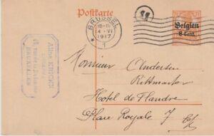 Belgium-1917 WW 1 German occupation 8c orange PS postcard Brussel cover to Ghent