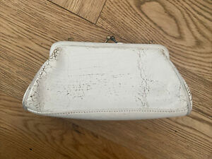 Jas MB Small Clutch Bag White Cracked Leather Brand New Seconds