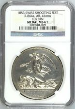 Swiss 1853 Silver Shooting Medal Luzern R-864a Arnold Winkelried Angel NGC MS61
