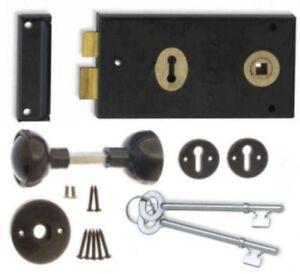 Black Rim Sash Lock 140 x 75mm with Handles Gate/Door Sash lock Knob set 2 Keys