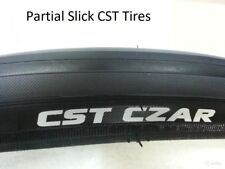 2 New CST Tires & Tubes Czar 700X25 Black Partial Slick Road Bike