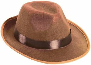Light Brown Gangster Felt Freddy Fedora 20S 20'S Hat Adult Costume Accessory