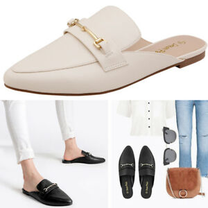Women Lady Flat Mules Buckle Pointed Toe Backless Slip on Slides Loafer 5-11 US