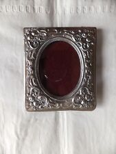 Vintage Elias Fine 1826 Pewter Oval Photo Picture frame with easel glass SN 925