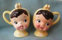 Vintage MISS CUTIE PIE Salt And Pepper Shaker NAPCO Yellow