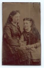 Tintype two redheaded sisters, long curly, hair dresses c. 1870s, original photo