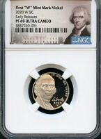 """2020 W First """"W"""" Mint Mark Nickel Early Releases NGC PF69 Ultra Cameo Portrait"""