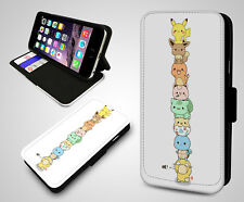 Pokemon Collage Pikachu Characters Game Cartoon Leather Flip Phone Case Cover