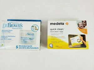 New Dr Brown's Medela Microwave Steam Sterilizer Bags Pack 5 Reusable Bags Lot