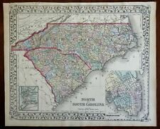 North Carolina & South Carolina Charleston City Plan & Harbor 1872 Mitchell map