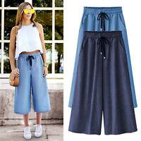 Women Palazoo Trousers Linen Cotton Stripe Loose Casual Wide Leg Pants Culottes