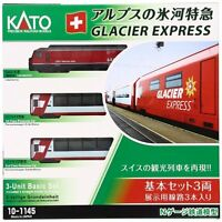 New KATO 10-1145 Alps Glacier Express Basic 3-Car Set Model Train