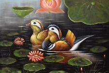 Original oil painting - WILD DUCKS & LILY POND Christian Petit - 42x32 cm