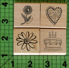 Lot of 4 assorted rubber stamps Flower, Heart, Birthday Cake, Daisy NEW