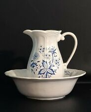 New ListingAntique Blue Onion Pitcher and Wash Basin bowl Set