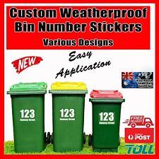 Custom Bin Stickers Number Street Name Decal Wheelie Large Rubbish Sticker Big