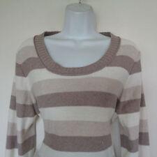 Brown & White Wool Viscose Nylon Cashmere Crewneck Sweater Banana Republic XL