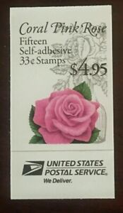 CORAL PINK ROSE Complete booklet BK242b 33 cent Mint NH