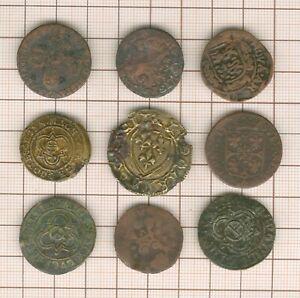 lot de 9 monnaies et jetons divers  à identifier