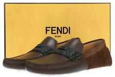 NEW FENDI BROWN LEATHER ZUCCA FF LOGO MOCCASINS DRIVER SHOES 7/US 8