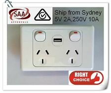 DUAL POWER SOCKET POWER POINT GPO 10A WITH SWITCHES USB CHARGER 2A SAA APPROVED
