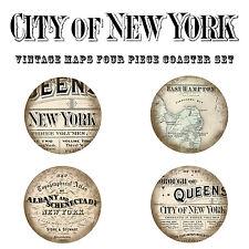 "New York City Vintage Map Round 4 pc Coaster Set Cork Backing, 3.75"" Diameter"